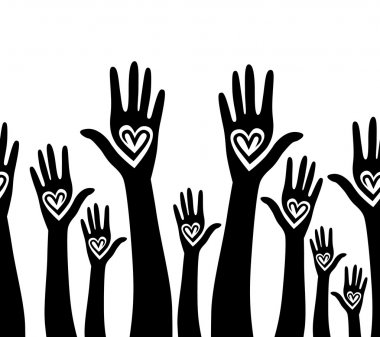 hand like heart united seamless background.