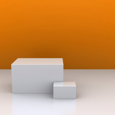 The white boxes in the background of an orange wall. The studio. 3D visuali