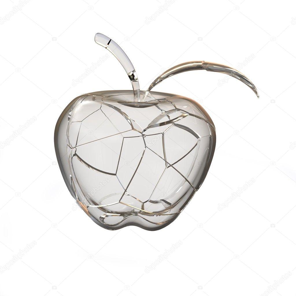 Broken Glass Apple 3d Rendering Stock Photo Cherezoff