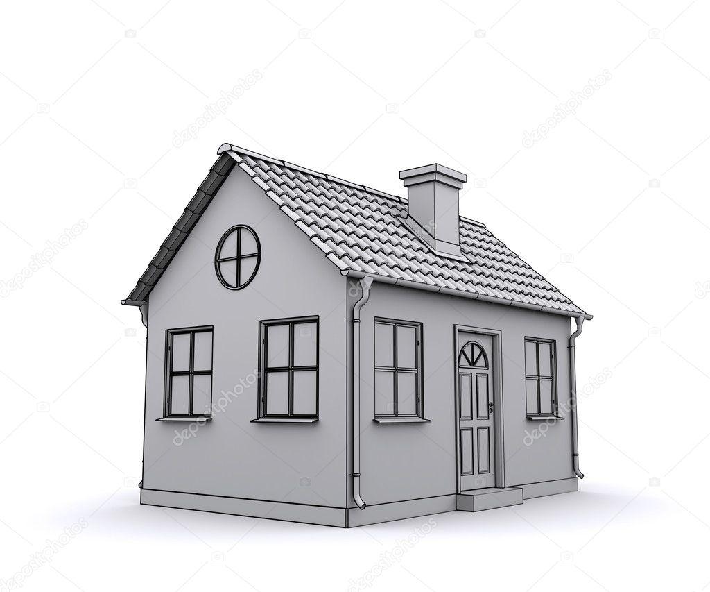 Wohnhaus 3D-Modell eines weißen — Stockfoto © cherezoff #9568761