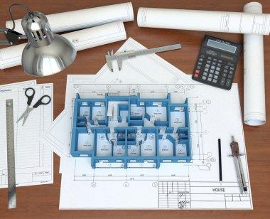 3D model floor of the house on the desktop architect