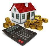 Dům s červenou střechou, kalkulačka, stoh zlatých mincí dolaru