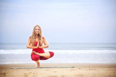 Yoga balancing asana on toes