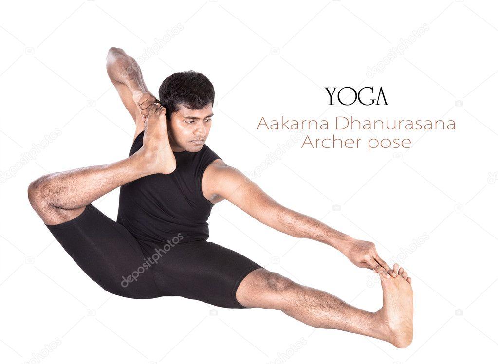 posición de yoga aakarna dhanurasana archer — Fotos de Stock ...