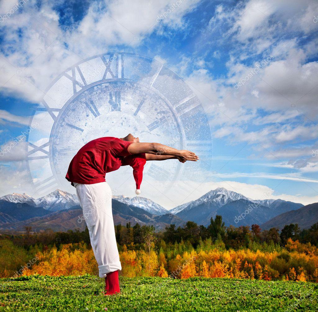 Christmas yoga as clock