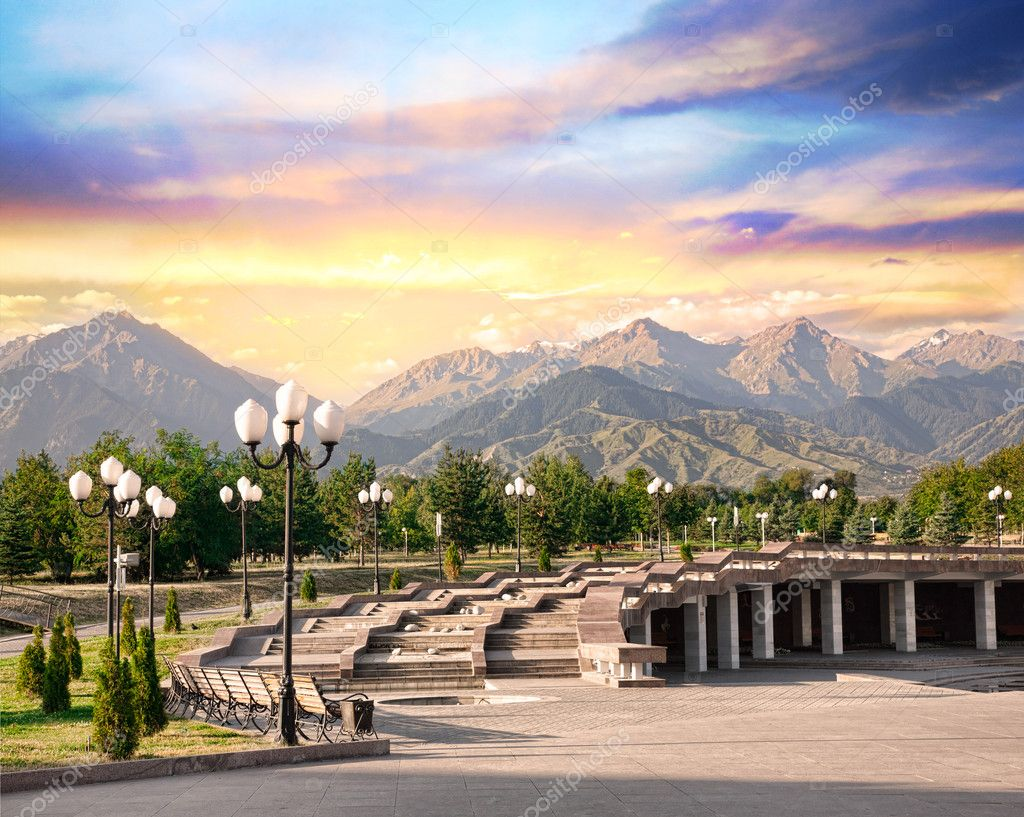 Park with mountains