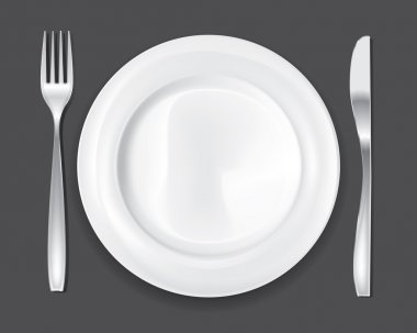 Empty dinner plate, drawing the knife and fork set stock vector