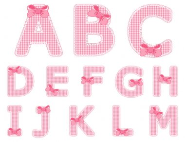 Baby girl alphabet set from A to M