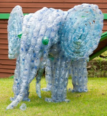 Elephant made from plastic bottles