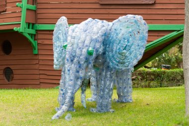 Elephant made from plastic bottles