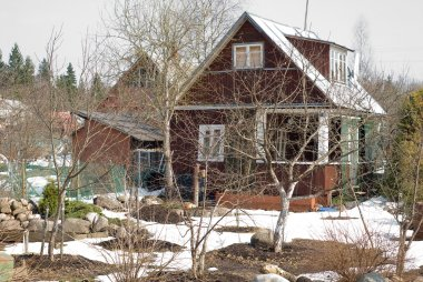 Summer cottages in early spring