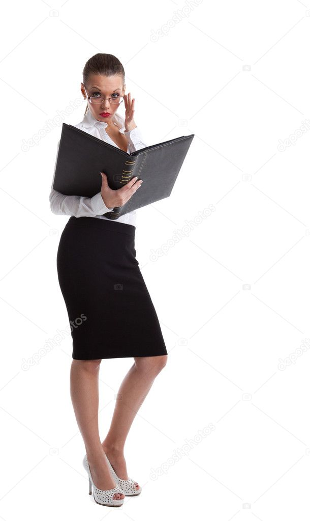 sexy serious business woman look in book stock photo wisky 8474790. Black Bedroom Furniture Sets. Home Design Ideas
