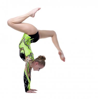 Young professional gymnast stand on splits