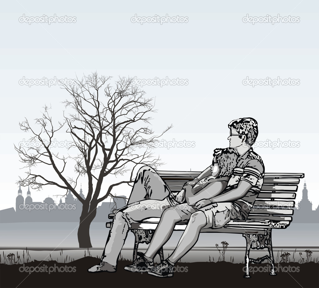 Young couple on a bench