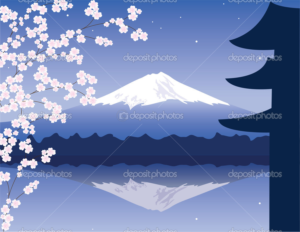 Vector Mount Fuji and branches of sakura