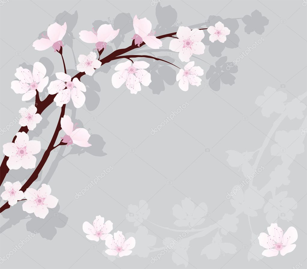 Vector cherry branch