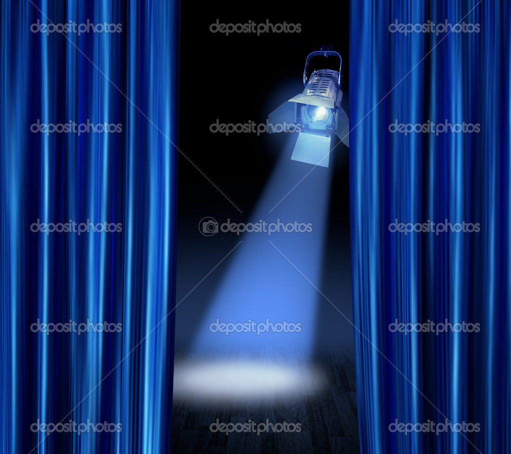 Stage spotlight blue curtains