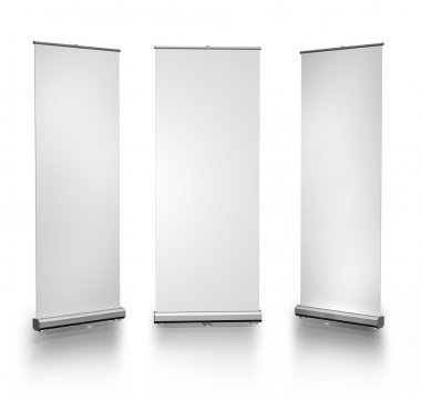 Three blank roll-up posters on white background stock vector