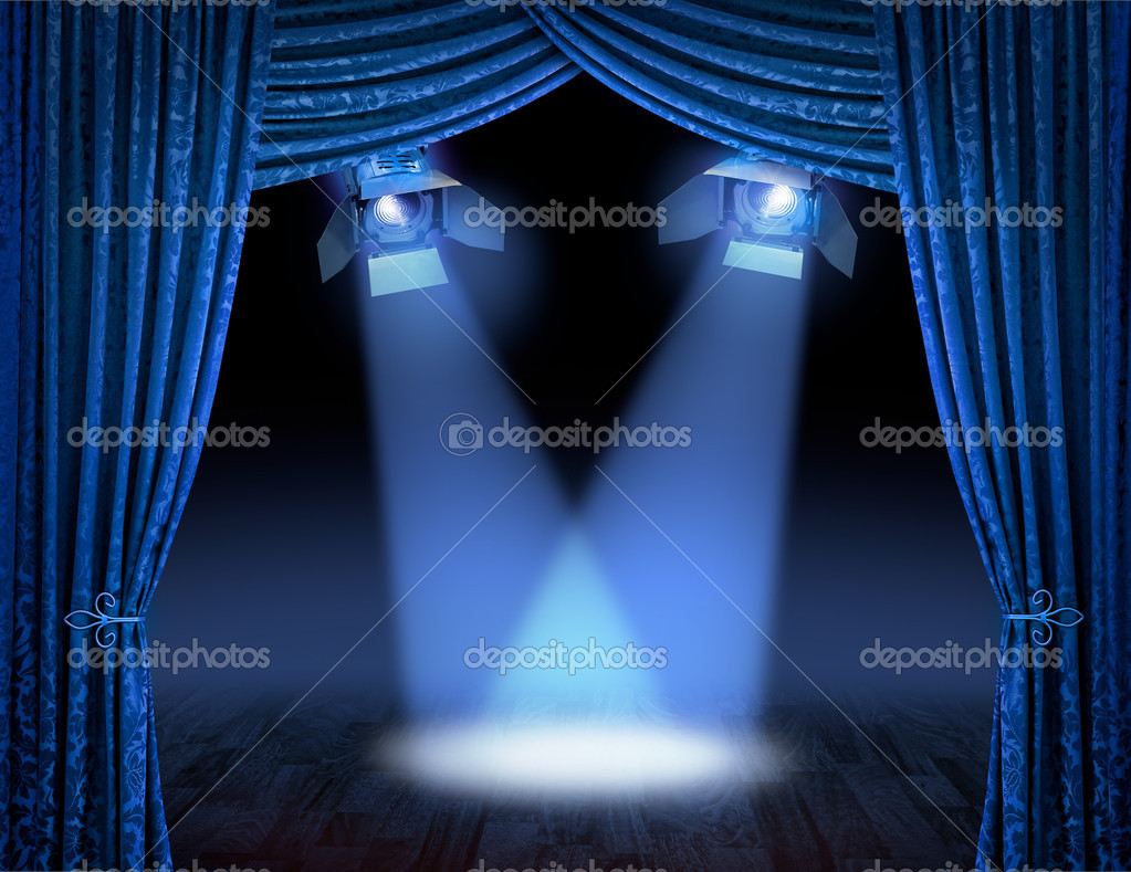 Black stage curtains black stage curtain - Blue Spotlight Beams Premiere Royalty Free Stock Photos