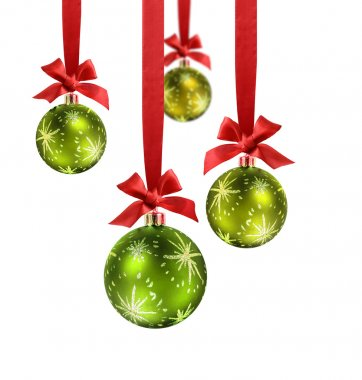 Green Christmas balls red ribbon