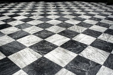 Black et white marble floor