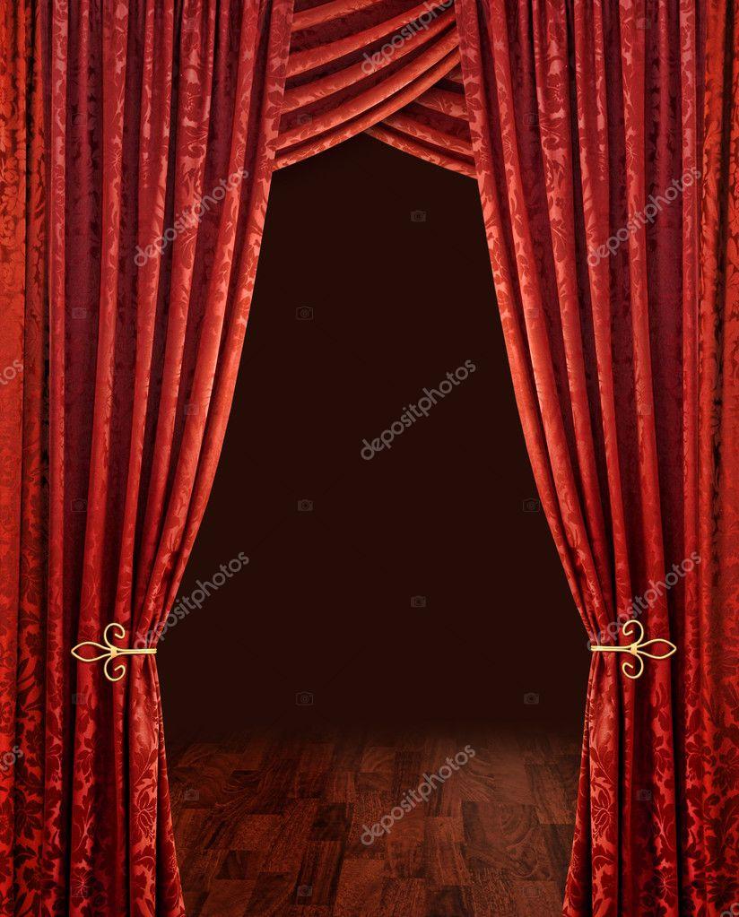 crimson red theatre curtains stock photo anterovium 9388643