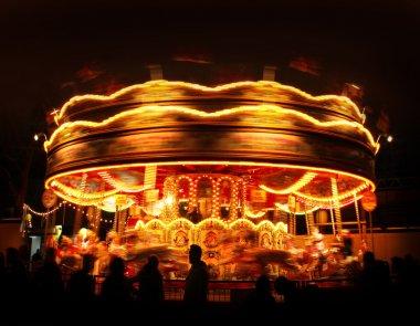 Spinning carousel lights motion in amusement park night stock vector