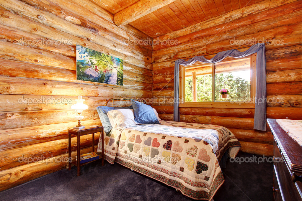 curtains depositphotos photo with cabin log blue stock rustic bedroom