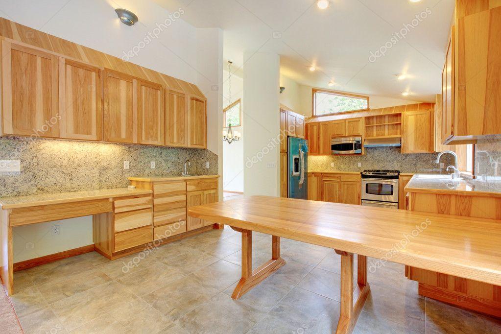 Large birch custom home kitchen interior