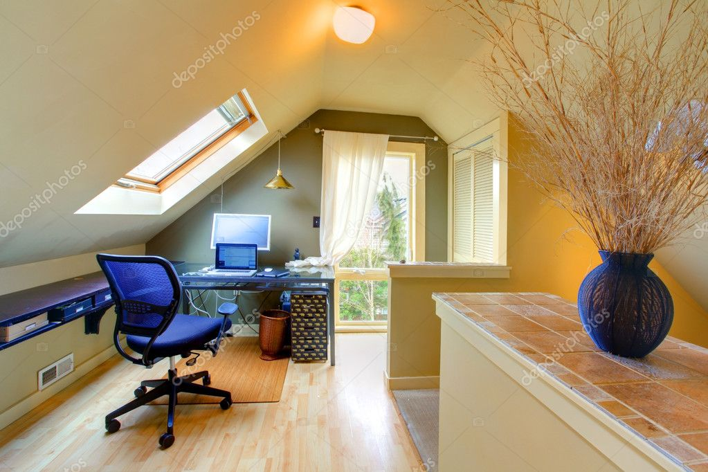 Attic cozy home office u2014 Stock Photo & Attic cozy home office u2014 Stock Photo © iriana88w #8873700