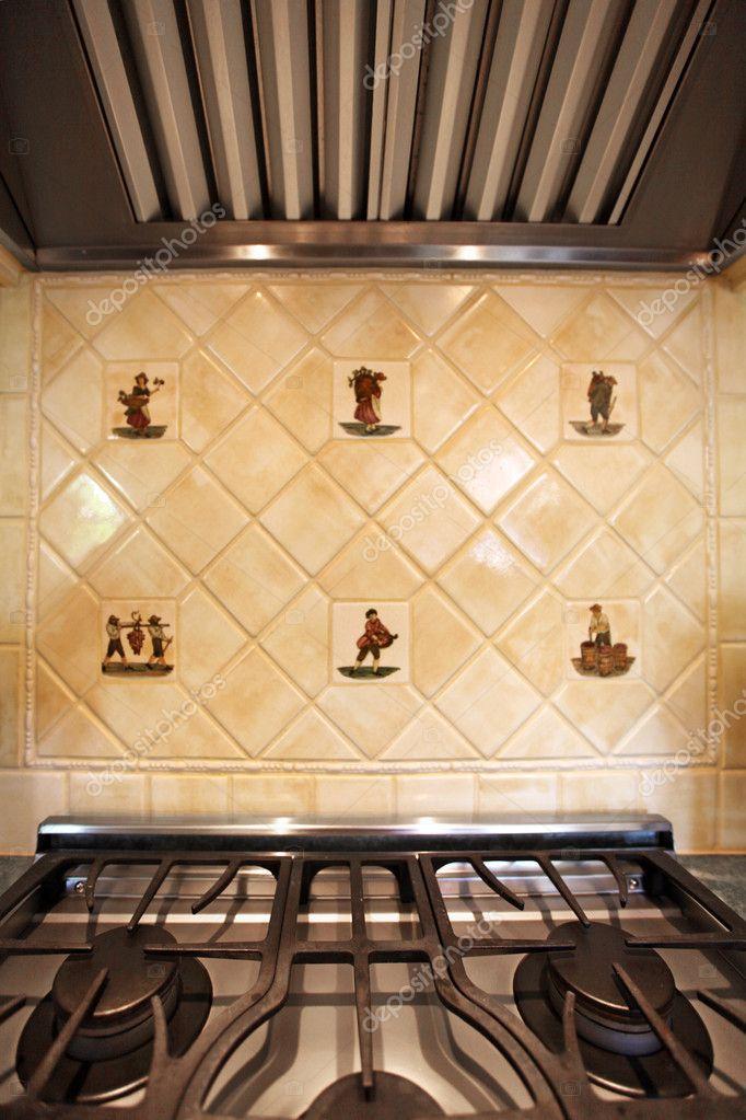 Ceramic Italian Tiles and stove close up — Stock Photo © iriana88w