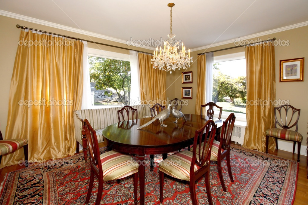 Dining Room With Yellow Curtains And Green Walls Stock Photo 8875875