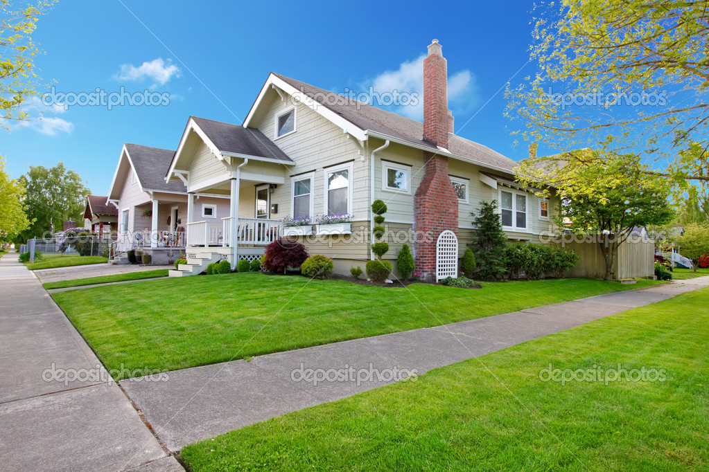Beautiful American Small House Exterior Stock Photo