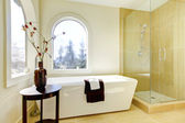 Luxury new natural classic bathroom.