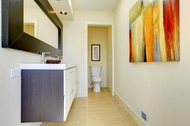 Beige modern new luxury bathroom.