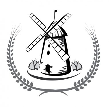 Wind mill emblem, grocery products symbol
