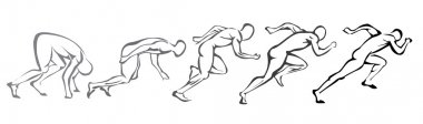 Sprint concept. set of symbols running man