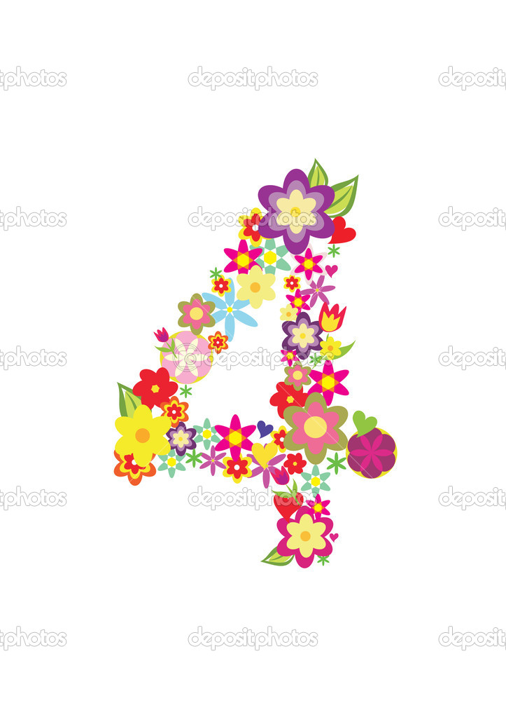 Number Four Made Of Flowers  U2014 Stock Vector  U00a9 Baldyrgan  9331069