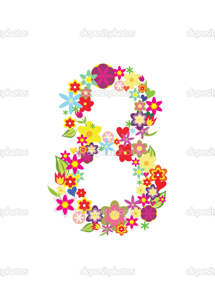 Number Eight Made Of Flowers  U2014 Stock Vector  U00a9 Baldyrgan  9331082