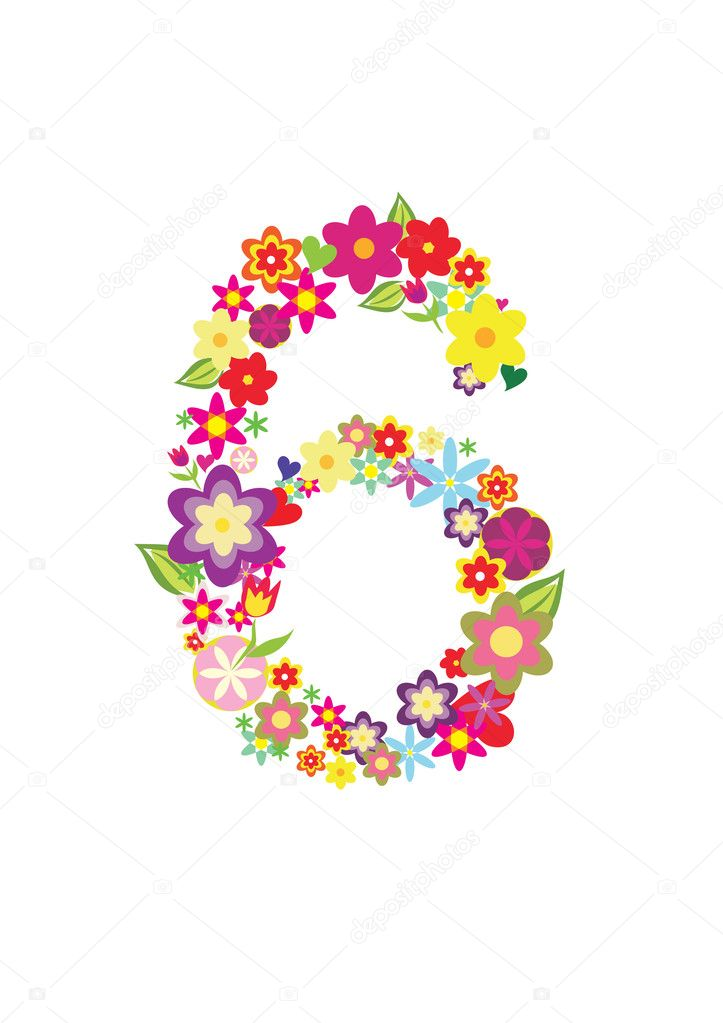 Number Six Made Of Flowers  U2014 Stock Vector  U00a9 Baldyrgan  9331089