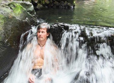 Man in Thermal Waterfall