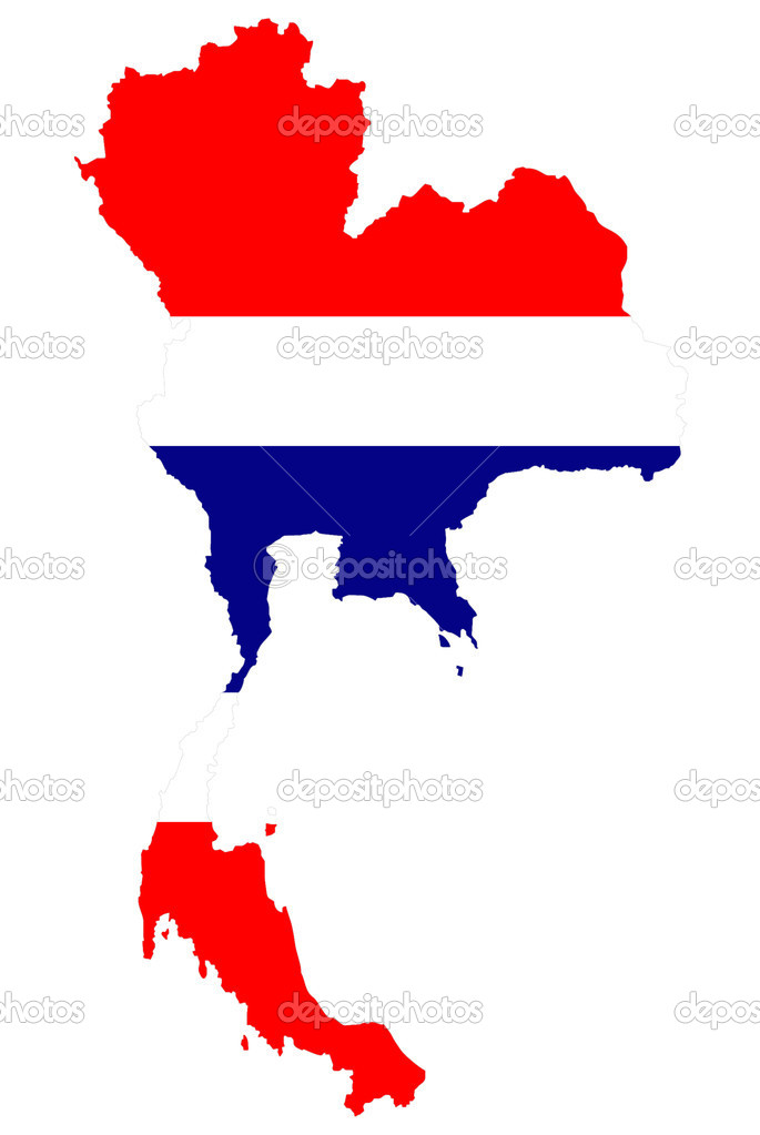 Thailand map background with flag.