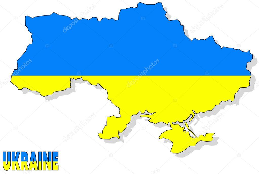 Ukrain map isolated with flag. — Stock Photo © ohmega1982 #9821911