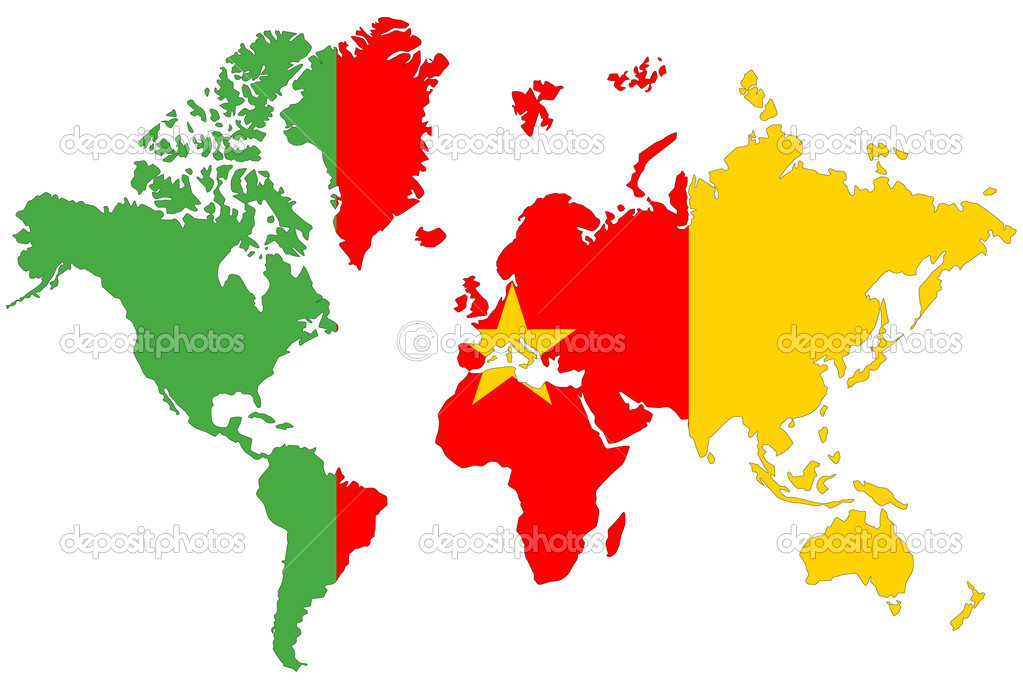 World map background with Cameroon flag isolated. — Stock ...