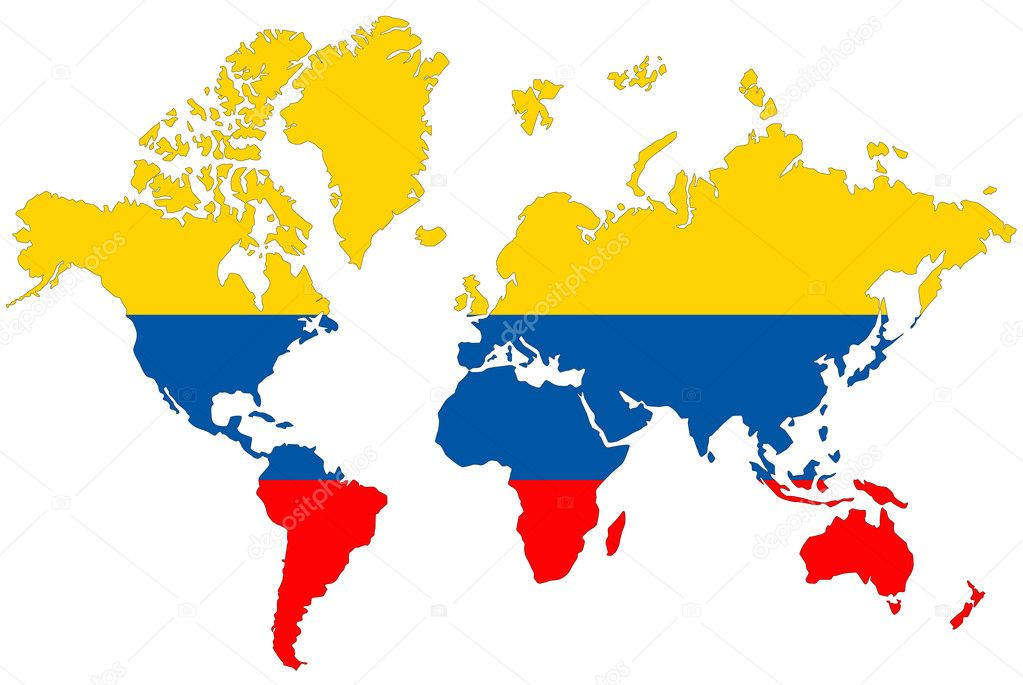 World map background with Colombia flag isolated Stock Photo