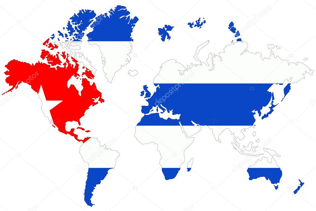 World map background with Cuba flag isolated. — Stock Photo ...