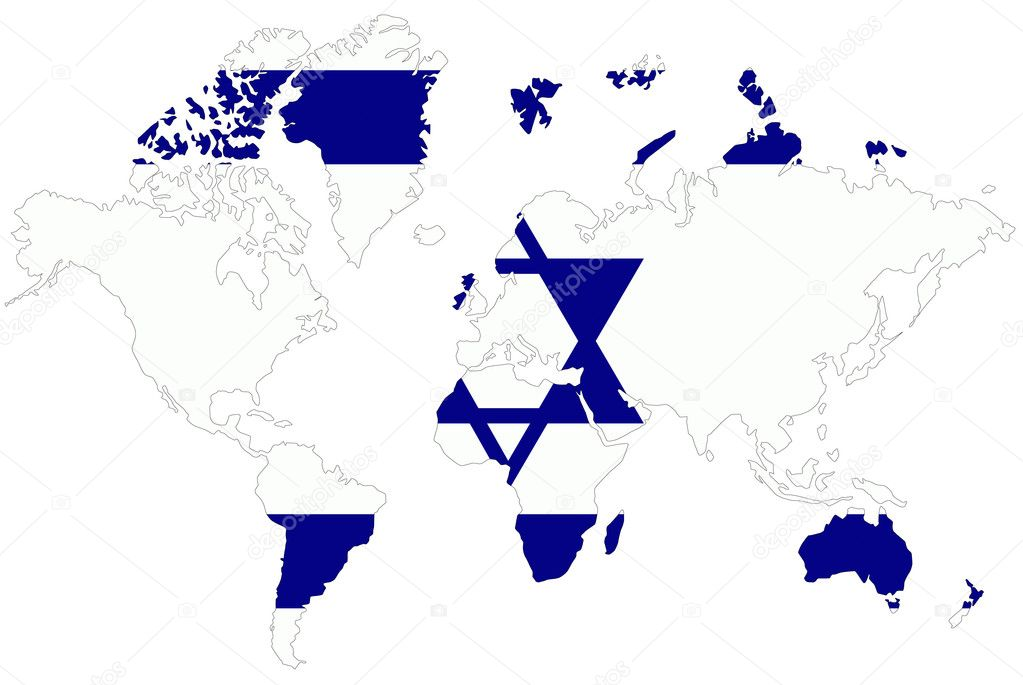 Isreal On World Map.World Map Background With Israel Flag Isolated Stock Photo