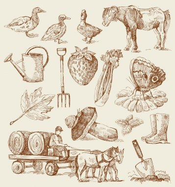 Farm-hand drawn set
