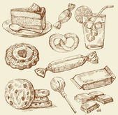 Fotografie Set of hand drawn sweets