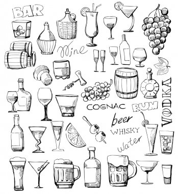 Set of vector sketches beverages and cocktails stock vector